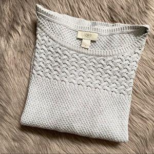 LOFT   Grey Waffle Knit Sweater